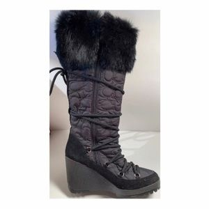 Coach Sofie Quilted Rabbit Fur Trim Wedge Boot